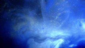 Fondo azul de la partícula que brilla Polvo azul del universo con las estrellas en fondo negro Extracto del movimiento de partícu libre illustration