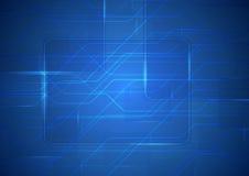 Fondo azul de la placa de circuito del extracto de la ciencia ficción de la tecnología ilustración del vector