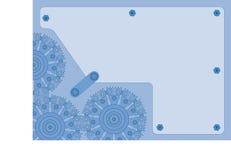 Fondo azul de la rueda dentada Fotos de archivo
