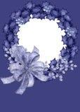 Fondo azul de la tarjeta de la foto de la guirnalda Imágenes de archivo libres de regalías