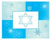 Fondo azul de la tarjeta del copo de nieve del día de fiesta de Jánuca ilustración del vector