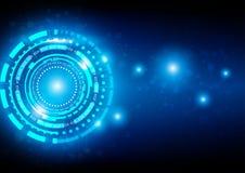 Fondo azul de la tecnología abstracta con la conexión y F brillante Imagen de archivo libre de regalías