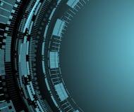 Fondo azul de la tecnología con los modelos del círculo Fotografía de archivo