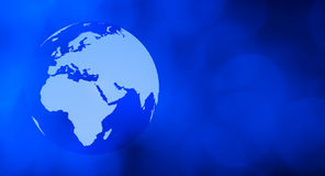 Fondo azul de la tecnología del globo del mundo Foto de archivo