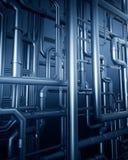 Fondo azul de la tubería de acero del metal Fotografía de archivo