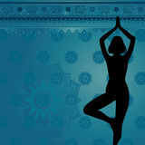 Fondo azul de la yoga Imagen de archivo
