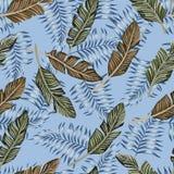 Fondo azul de las hojas tropicales inconsútil Foto de archivo