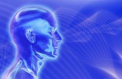 Fondo azul de las ondas cerebrales Imagen de archivo libre de regalías