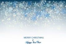 Fondo azul de los copos de nieve de la Navidad para la tarjeta de la invitación u otras banderas Ilustración del vector Foto de archivo