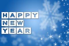 Fondo azul de saludo del Año Nuevo Imagenes de archivo