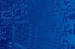 Fondo azul de tarjeta de circuitos Fotos de archivo libres de regalías