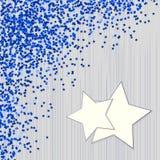 Fondo azul decorativo con confeti de las estrellas Foto de archivo