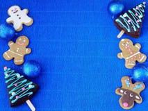 Fondo azul del Año Nuevo o de la Navidad Foto de archivo libre de regalías