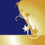 Fondo azul del arce del oro Imágenes de archivo libres de regalías