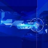 Fondo azul del color de la tecnología del extracto geométrico del foco fotografía de archivo libre de regalías