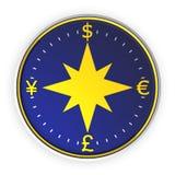 Fondo azul del compás del dinero Fotografía de archivo libre de regalías