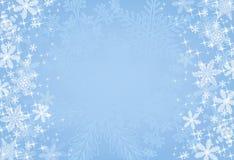 Fondo azul del copo de nieve de la Navidad Fotografía de archivo