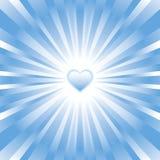 Fondo azul del corazón que brilla intensamente Foto de archivo