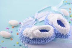 Fondo azul del cuarto de niños de la fiesta de bienvenida al bebé Imágenes de archivo libres de regalías
