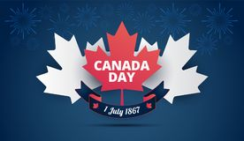 Fondo azul del día de Canadá con la hoja de arce de Canadá, bandera canadiense stock de ilustración