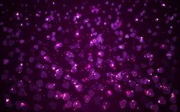 Fondo azul del día de fiesta abstracto de la tarjeta del día de San Valentín con las luces borrosas de los corazones ilustración del vector