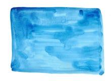 Fondo azul del ejemplo del drenaje de la mano del extracto de la acuarela Foto de archivo libre de regalías