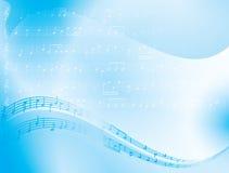 fondo azul del extracto del vector - notas de la música Fotografía de archivo