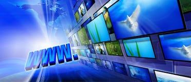 Fondo azul del Internet Imagen de archivo