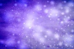 Fondo azul del invierno abstracto con los copos de nieve Fotos de archivo