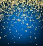 Fondo azul del invierno con los copos de nieve Imagenes de archivo