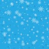 Fondo azul del invierno con los copos de nieve Ilustración del vector libre illustration