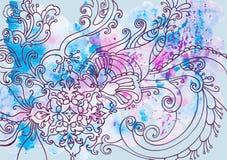 Fondo azul del invierno con los modelos y las manchas de la acuarela imágenes de archivo libres de regalías