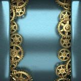 Fondo azul del metal con los engranajes de la rueda dentada Imagen de archivo libre de regalías