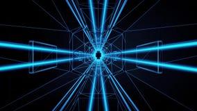 fondo azul del movimiento de Loopable del túnel del estilo de 3D Tron ilustración del vector