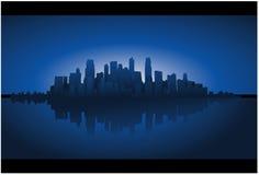 Fondo azul del paisaje urbano