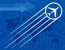 Fondo azul del recorrido del aeroplano Imagen de archivo libre de regalías