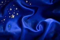 Fondo azul del satén Imagenes de archivo