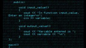 Fondo azul del texto del código de programa de C++ almacen de metraje de vídeo