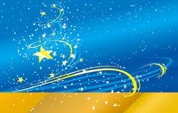 Fondo azul del vector con las estrellas Imagen de archivo libre de regalías