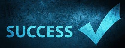 Fondo azul especial de la bandera del éxito (valide el icono) stock de ilustración