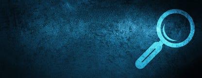 Fondo azul especial de la bandera del icono de la lupa ilustración del vector