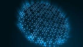 Fondo azul futurista del extracto geométrico con hexágonos con los rayos ligeros libre illustration