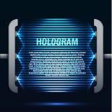 Fondo azul futurista del holograma que brilla intensamente Foto de archivo libre de regalías