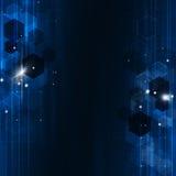 Fondo azul geométrico de la tecnología Imágenes de archivo libres de regalías