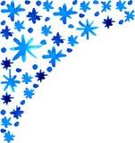Fondo azul hermoso de los copos de nieve de la acuarela Fotos de archivo