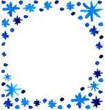 Fondo azul hermoso de los copos de nieve de la acuarela Foto de archivo libre de regalías