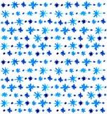 Fondo azul hermoso de los copos de nieve de la acuarela Foto de archivo