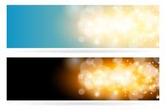 Fondo azul mágico ligero chispeante abstracto de la nube Chispa brillante del resplandor y sistema horizontal de la bandera del e ilustración del vector
