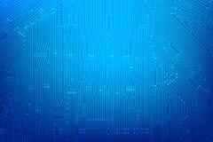 Fondo azul marino abstracto con la línea de la placa de circuito de la impresión y stock de ilustración