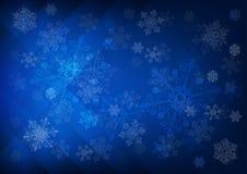 Fondo azul marino abstracto con los copos de nieve Foto de archivo